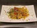 Pasta mediterranea: tagliatelle bottarga, pomodorini e carote