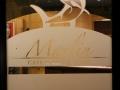 Il logo del Ristorante Marlin Caffè a Saronno in vetrofania sulla vetrata