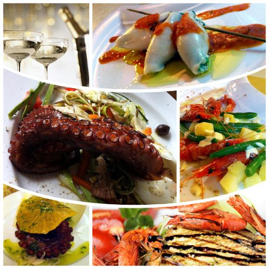 Composizione di piatti a base di pesce e verdure, in pieno stile mediterraneo