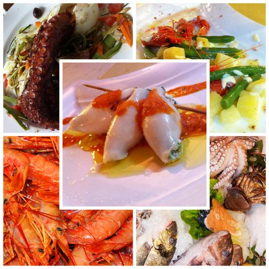 Cinque delizie a base di pesce fresco e verdure in un unica composizione fotografica