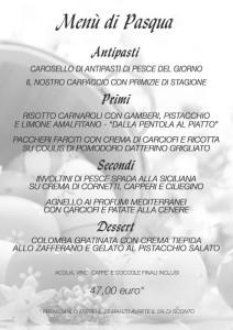 Locandina del menù di Pasqua - Ristorante Marlin Caffè a Saronno